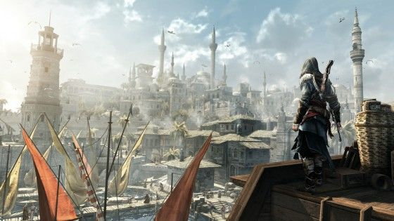 Ezio Looking At A Bright City In Assassins Creed Revelations