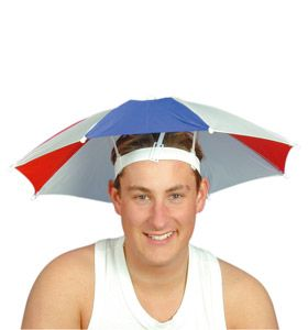 Funny looking hands-free hat umbrella
