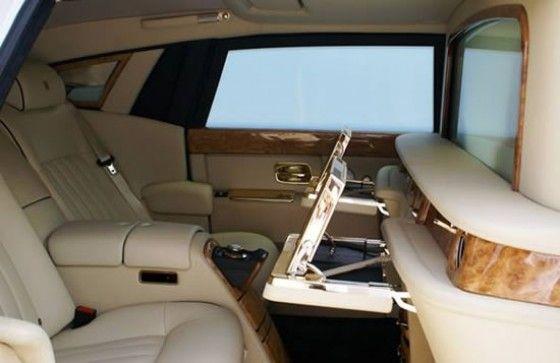 Gold interior of Rolls Royce Phantom