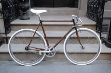 Bike frame painted with woodgrain paint