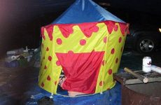 camping for newbies in a clown tent