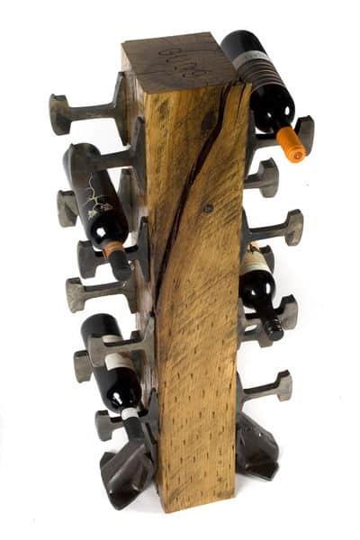 rail yard studios wine rack made from rail ties and rail spikes
