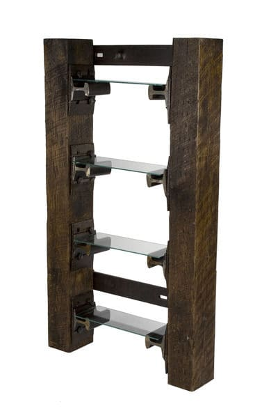 rail yard studios shelf made from rail ties and rail spikes