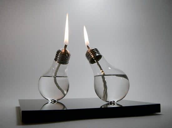 lightbulb oil lamps by sergio silva