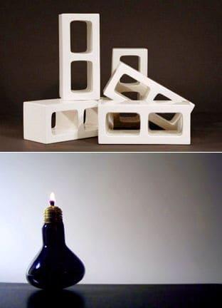 ceramic cinderblocks and light bulb oil lamps by sergio silva