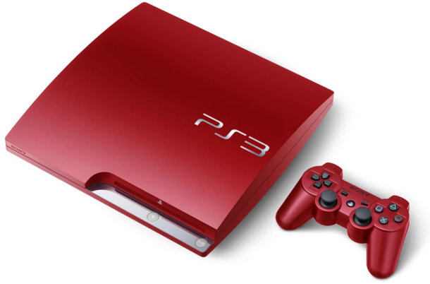 Scarlet Red and Splash Blue 320 GB PS3 Slim Consoles