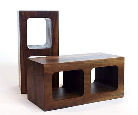wooden cinder blocks by sergio silva