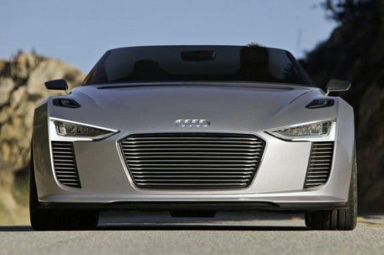 Headlights of 2014 Audi e-tron Spyder car
