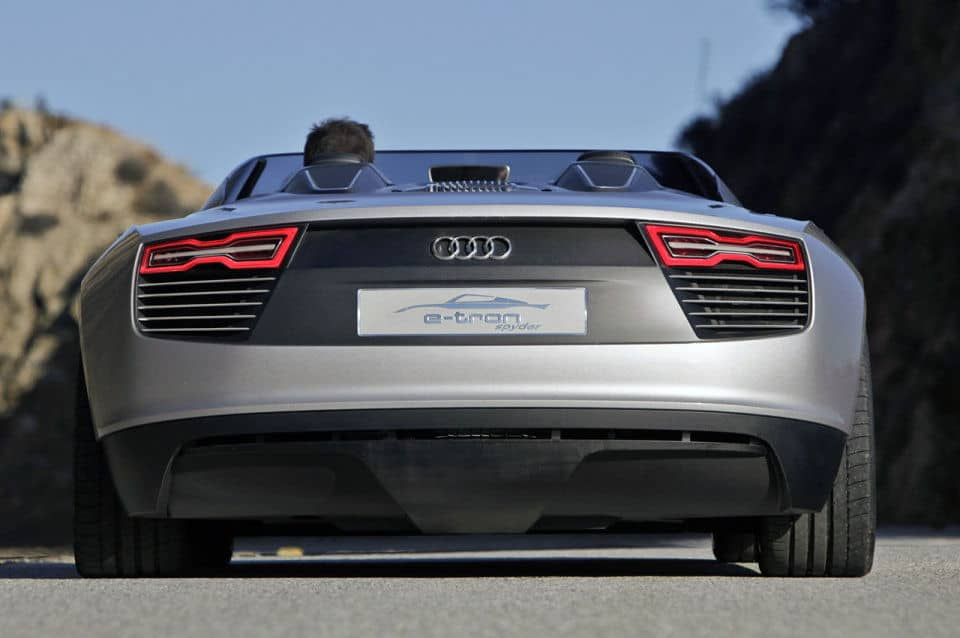 Rear view of the Audi e-trong Spyder
