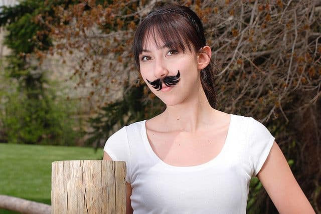 cute movember girls tribute with mario moustache