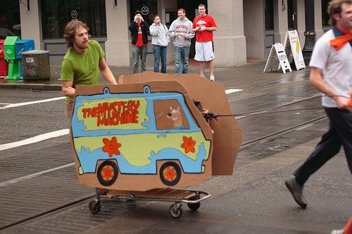 scooby doo mystery machine racing shopping cart