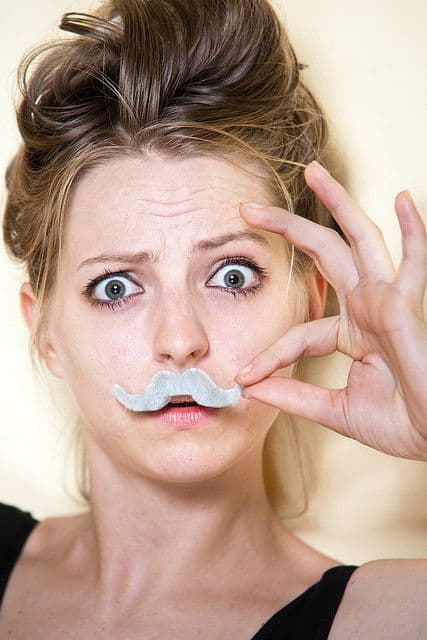 cute girl with grey moustache