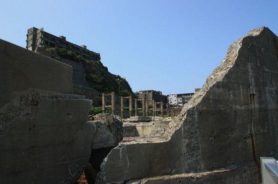 Broken Concrete Wall on Gunkanjima
