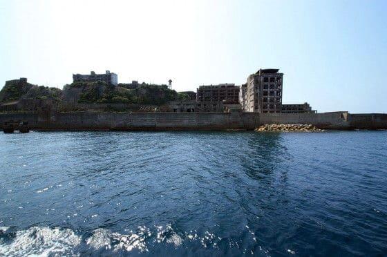 Gunkanjima Island from a boat