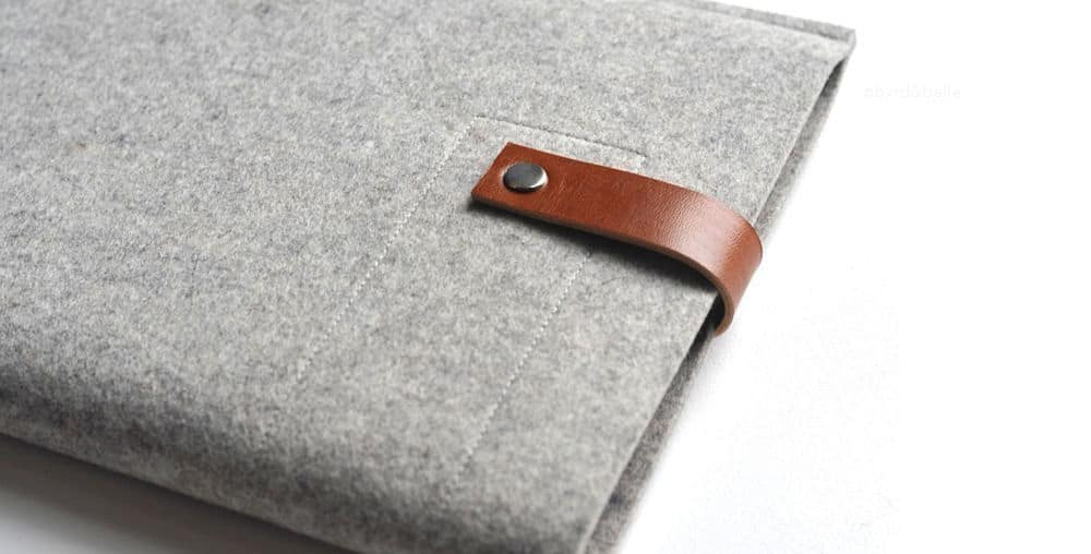 wool and leather ipad device case by Byrd & Belle