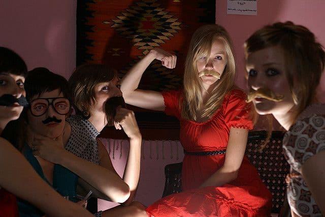 movember girls in funny poses