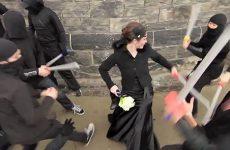 Ninjas attacking a woman