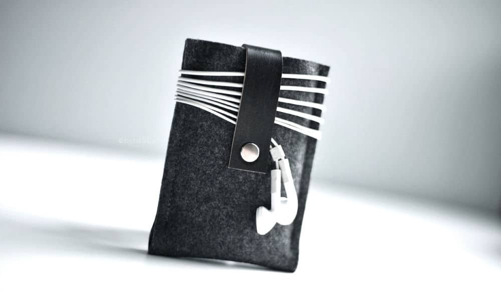 wool and leather device cases by Byrd & Belle
