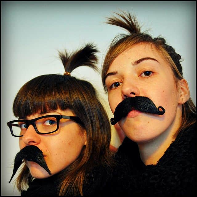 cute movember girls with moustaches