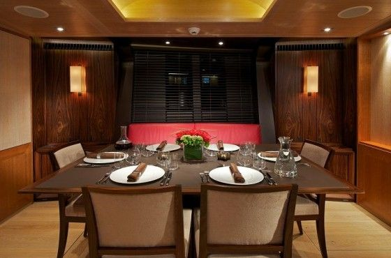 Fine dining in a luxury yacht