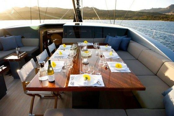 Fine dining on a luxury yacht