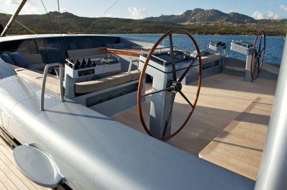 Steering wheel on a luxury sail boat