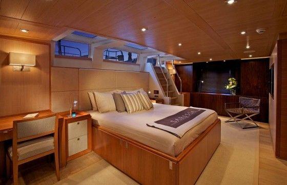 Luxury captain's bedroom on a yacht