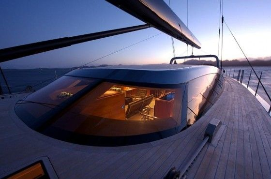 Deck of the luxury yacht Sarissa sail boat