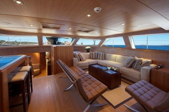 Luxurious interior of the Sarissa Sailing Yacht