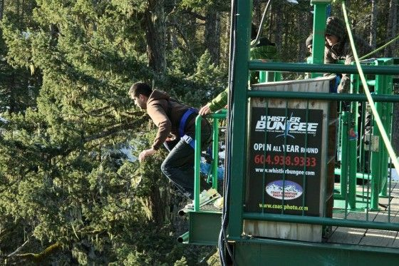 Guy jumping off a bridge at Whistler Bungee