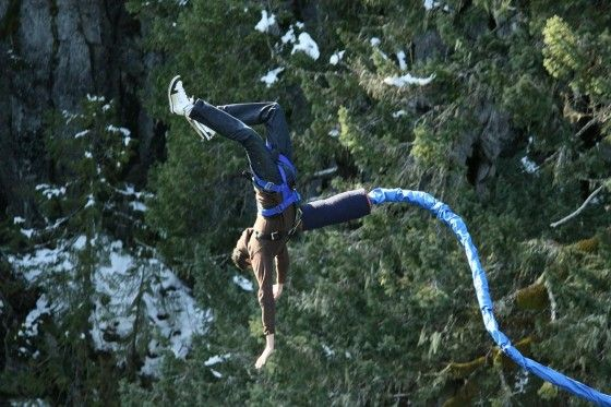 Doing a front flip on a Bungee Jump