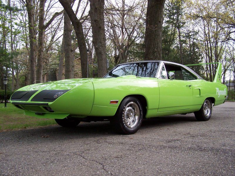 1970 Plymouth Superbird fully optioned muscle cars front view neon green