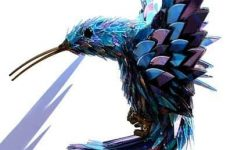 recycled hummingbird sculpture