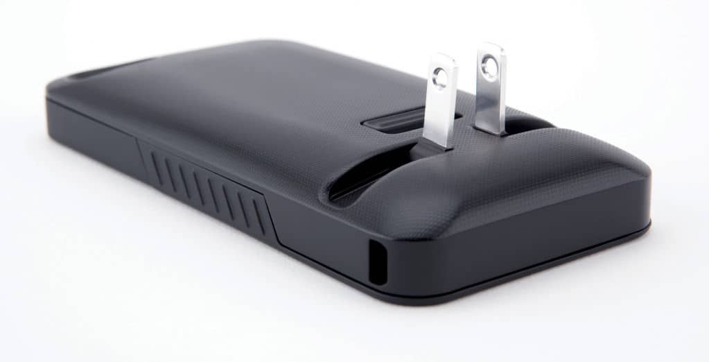 JuiceTank iPhone charger case with prongs deployed