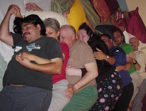people sleeping in a row
