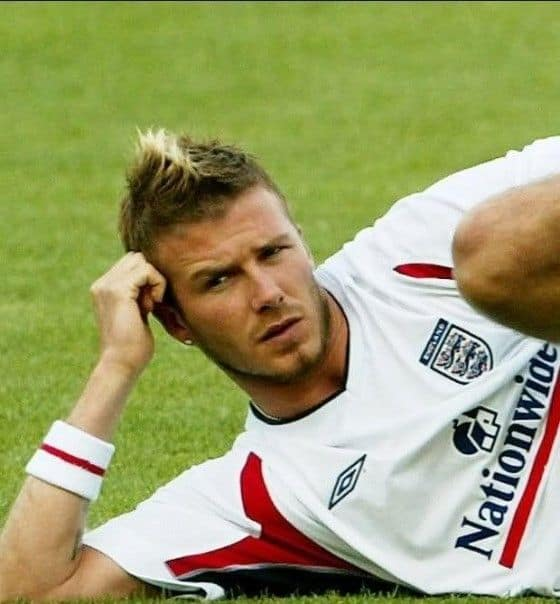 Soccer player David Beckham with a Fauxhawk haircut