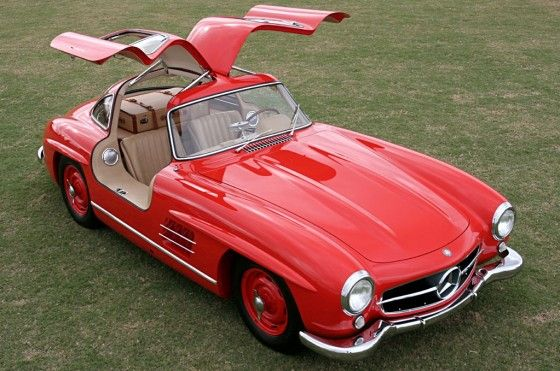 Red 1954 mercedes 300SL Gullwing
