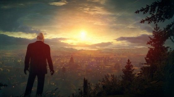 Agent 47 looking at the sunset