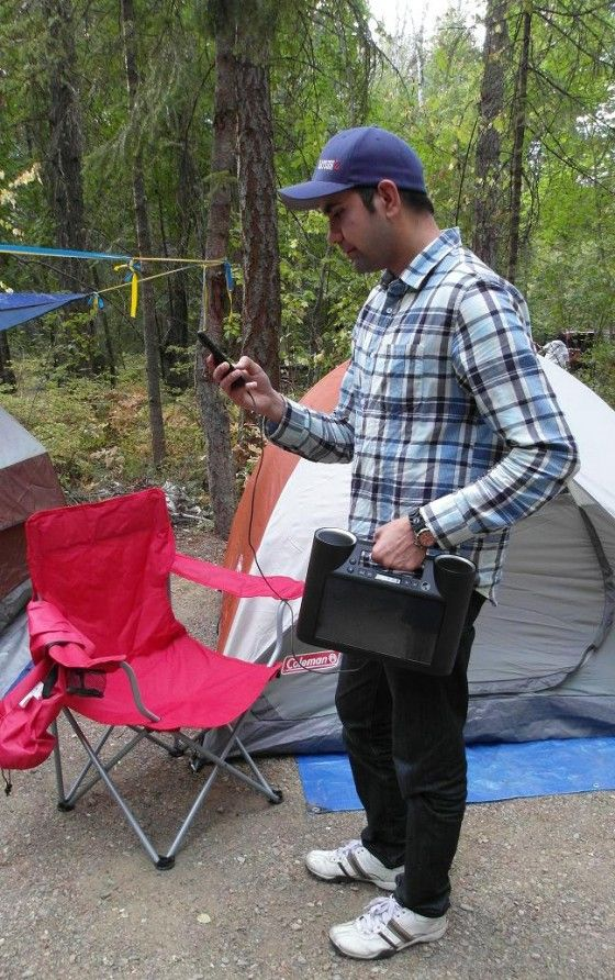 Charging a phone with Eton Rukus Bluetooth Speakers