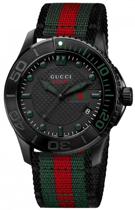 Gucci G-Timeless Sport watch black pvd with NATO strap