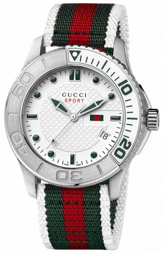 Gucci G-Timeless Sport watch white steel with NATO strap
