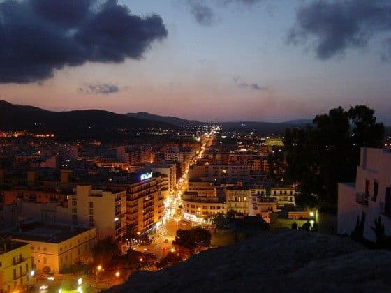 Ibiza Spain at night time