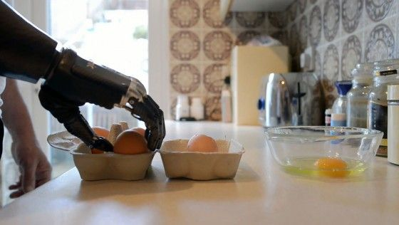 bionic hand cracking eggs