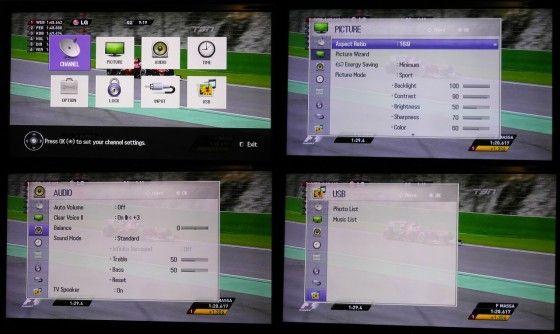 LG 42LS3400 Menus display