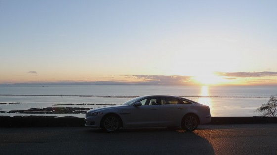 Jaguar XJL ocean sunset