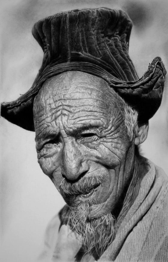 Hyper Realistic Pencil Art of Old Man
