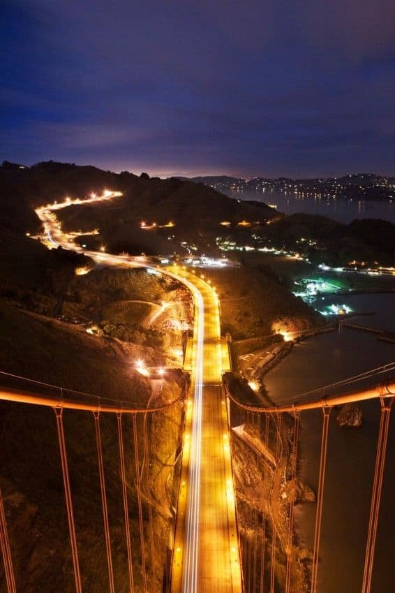 golden gate bridge at night