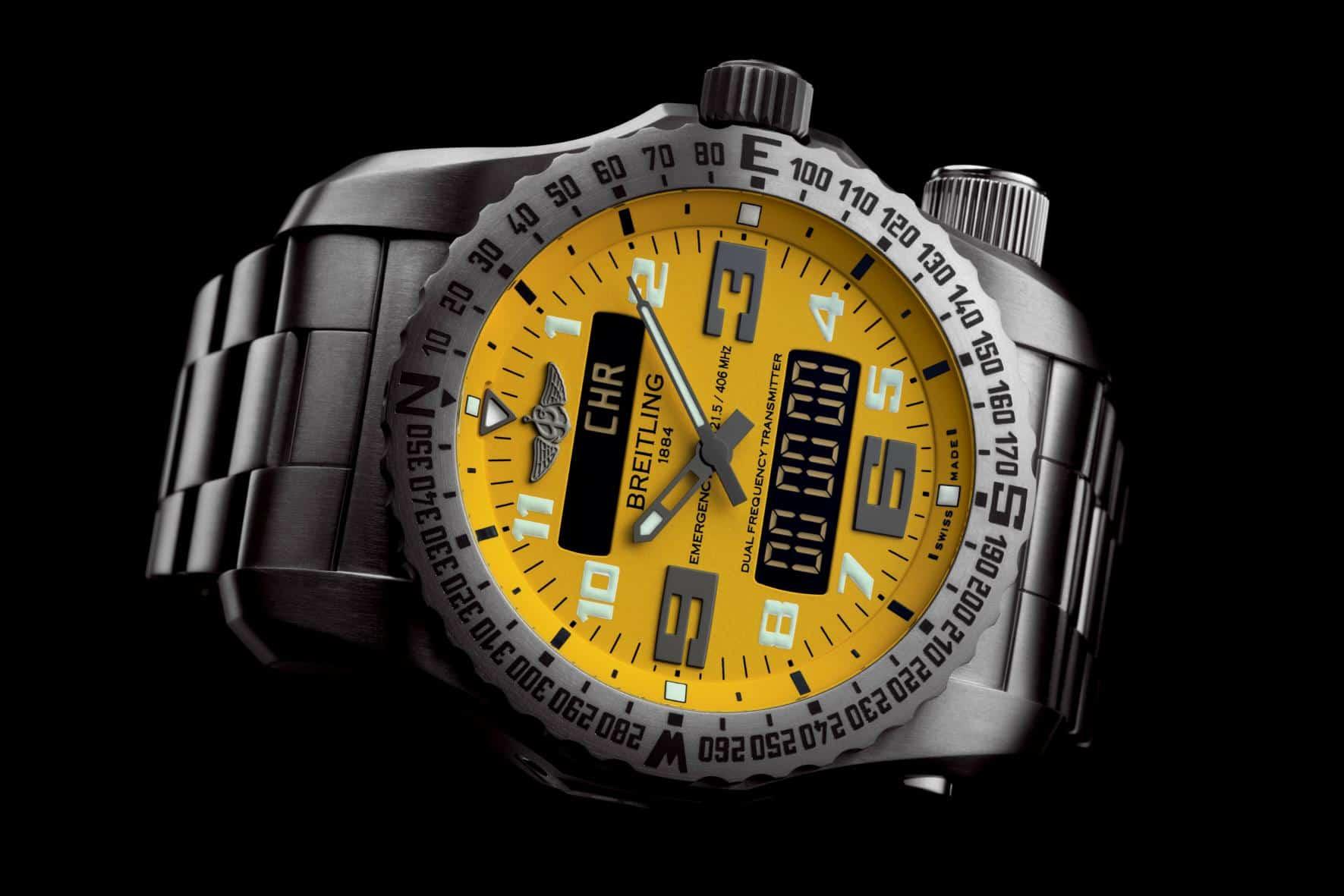 Breitling Emergency II watch yellow dial