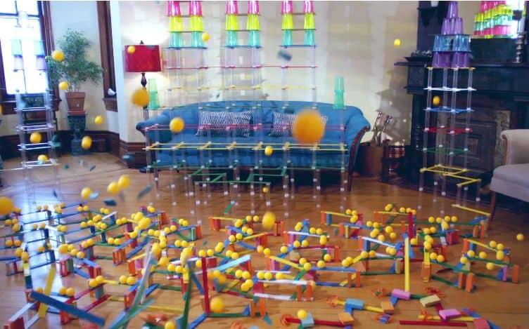 rube goldberg machine video tuna melt sticks and balls