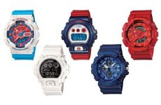 casio g shock red white blue pack